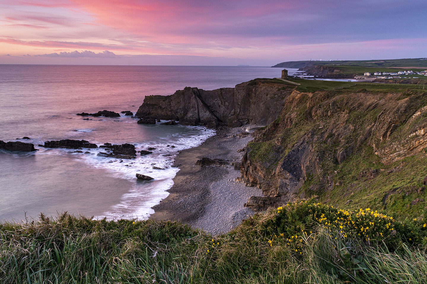 Pink Hues over Pepper Pot - Compass Point, Bude