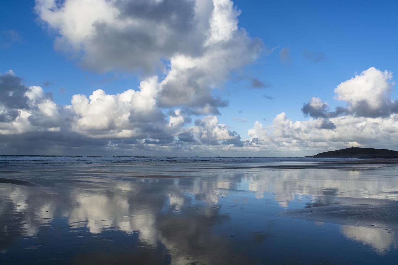 Reflection Towards Towan Headland - Fistral Beach, Newquay