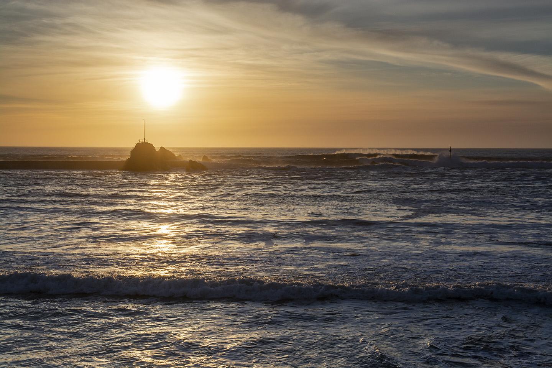 Sunset over the Breakwater - Summerleaze Beach, Bude